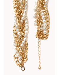 Forever 21 - Natural Opulent Faux Pearl Chain Choker - Lyst