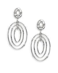 John Hardy | Metallic Bamboo Sterling Silver Drop Hoop Earrings | Lyst