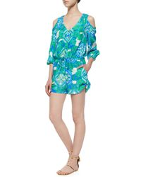 Alice & Trixie - Green 3/4-sleeve Cold-shoulder Printed Short Jumpsuit - Lyst