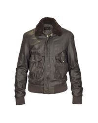 FORZIERI - Dark Brown Leather Bomber Jacket W/ Removable Sheepskin Collar for Men - Lyst