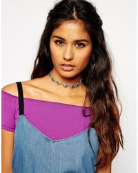 ASOS - Metallic 90s Sun Choker Necklace - Lyst