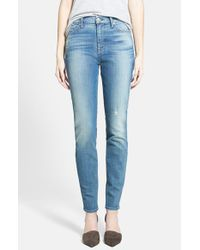 7 For All Mankind - Blue Contour Skinny Jeans - Lyst