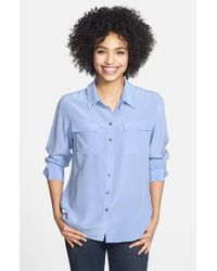 7bfe27410ba0c2 Lyst - Two By Vince Camuto Silk Utility Blouse in Blue