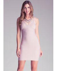 Bebe Pink Double V Lurex Dress