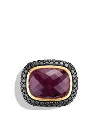 David Yurman Metallic Waverly Limitededition Ring with Ruby Black Diamonds Gold
