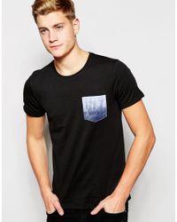 Jack & Jones | Black Longline T-shirt With Contrast Printed Pocket for Men | Lyst