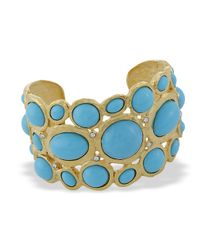 Kenneth Jay Lane | Blue Turquoise Scalloped Edge Cuff | Lyst