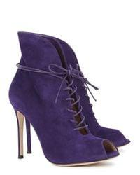 Gianvito Rossi - Purple Suede Boots - Lyst