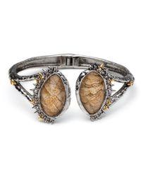 Alexis Bittar | Metallic Crystal Studded Spur Trim Hinge Bracelet With Custom Jasper Doublets | Lyst