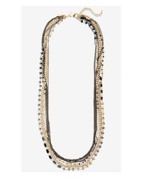Express Metallic Layered Bead And Chain Necklace