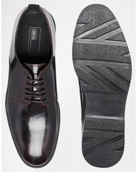 ASOS Purple Derby Shoes In Leather for men