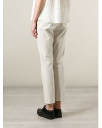 Hache - Natural Cropped Tailored Trousers - Lyst