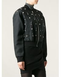 Balmain Black Embellished Bomber Jacket