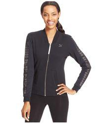 PUMA | Black Logo Zip-Up Jacket | Lyst