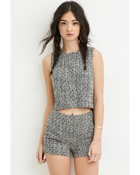 Forever 21 | Black Two-tone Boucle Top | Lyst
