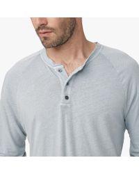 James Perse Gray Linen Cotton Raglan Henley for men