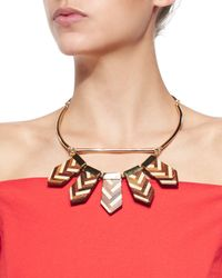 Lela Rose | Brown Mixed Chevron Wooden Choker Necklace | Lyst