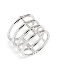 Elizabeth and James | Metallic 'berlin' White Topaz Cage Ring | Lyst