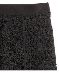 H&M Black Knee-length Lace Skirt