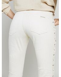 Free People White Lace Up Skinny Jean