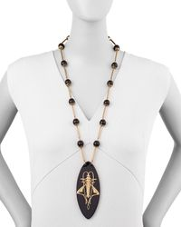 Tory Burch Camille Grasshopper Resin Pendant Necklace Black