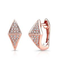 Anne Sisteron | Pink 14kt Rose Gold Diamond Double Triangle Huggie Earrings | Lyst