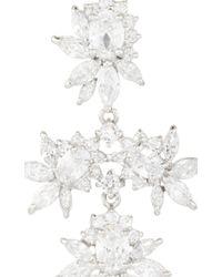 Fallon | Metallic Rhodium Plated Cubic Zirconia Marquis Chandelier Earrings | Lyst
