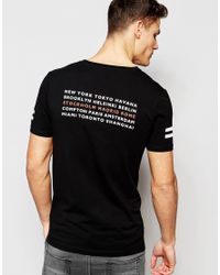 ASOS Black Muscle T-shirt With City Back Print And Sleeve Print for men