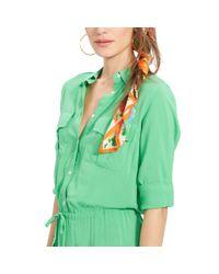 Ralph Lauren - Green Rolled-cuff Shirtdress - Lyst