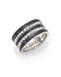 Stephen Webster | Metallic Superstud Black Sapphire & Sterling Silver Stacked Band Ring | Lyst