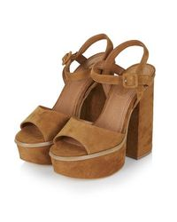 TOPSHOP Brown Lady Chunky Platform Sandals
