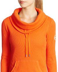 Lauren by Ralph Lauren | Orange Waffle-knit Cowlneck Pullover | Lyst