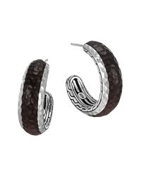 John Hardy | Metallic Palu Silver Rosewood Small Hoop Earrings | Lyst