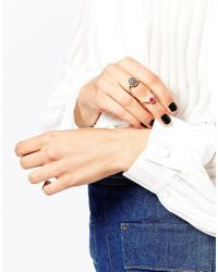 Oasis | Metallic Pave & Marbelled Disc Stone Ring | Lyst