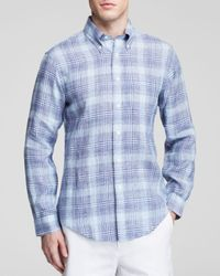 Brooks Brothers Blue Chambray Plaid Button Down Shirt - Classic Fit for men