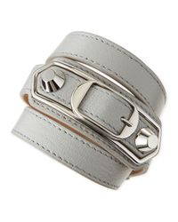 Balenciaga | Gray Classic Leather Wrap Bracelet | Lyst