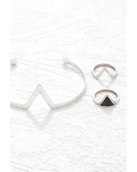 Forever 21 - Metallic V-cutout Wrist Cuff And Ring Set - Lyst
