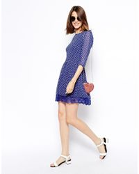 ASOS | Blue Skater Dress In Spot Print With Lace Hem | Lyst