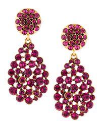 Oscar de la Renta | Purple Crystal Teardrop Earrings | Lyst