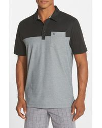 Travis Mathew - Black 'hollows' Colorblock Pima Cotton Jersey Golf Polo for Men - Lyst