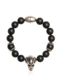 Emanuele Bicocchi Black Onyx Beads & Silver Skull Bracelet for men