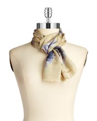Lauren by Ralph Lauren | Natural Patterned Silk Scarf | Lyst