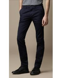 Burberry Brit Blue Slim Fit Cotton Chino Trousers for men
