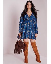 Missguided - Blue Plus Size Flower Print Frill Swing Dress - Lyst