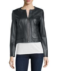 Bagatelle - Gray Pleated Front Leather Jacket - Lyst