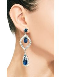 Carole Tanenbaum | Blue Hobe Open Diamante and Sapphire Drop Earrings | Lyst