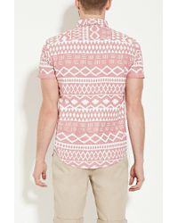 Forever 21 - Gray Geo Print Shirt for Men - Lyst