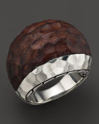 John Hardy - Brown Palu Silver Small Dome Ring With Rose Wood - Lyst