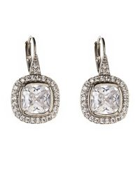 CZ by Kenneth Jay Lane | Natural Silver-Tone Cushion Pavã© Earrings | Lyst