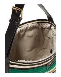 Marni - Green Leather-trimmed Raffia Tote - Lyst